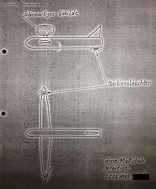 Zeugenskizze des düsenflugzeugartigen Objekts mit Schirm. Copyright: Bundesarchiv.de (Foto: grenzwissenschaft-aktuell.de)