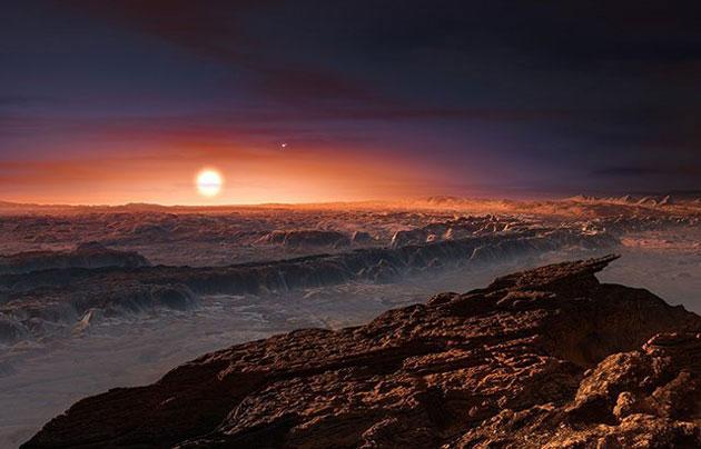 Künstlerische Darstellung der Planetenoberfläche von Proxima Centauri b mit Blick auf seinen Stern. Copyright: ESO