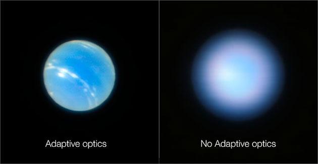 Adaptive optik ermöglich erdgestützten teleskopen schärfere