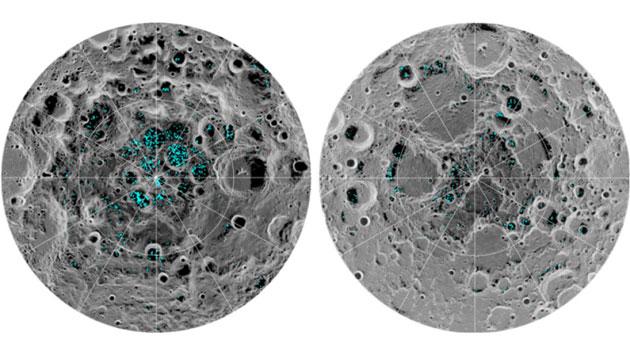 Grafische Abbildung der Verteilung von Wassereis (blau) an der Oberfläche der Nord- und Südpole des Mondes, wie sie vom Moon-Mineralogy-Mapper-Instrument der NASA detektiert wurden. Copyright: NASA