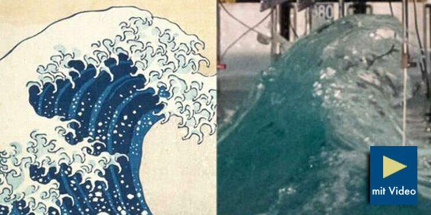 """Riesenwelle im Labor (r.) und das künstlerische """"Vorbild"""" des japanischen malers Hokusai."""