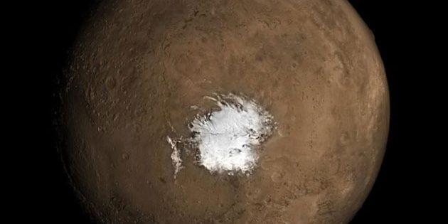 Blick auf die südliche Polkappe des Mars. Copyright: NASA
