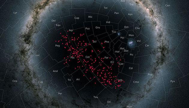 Der Nachthimmel in einer sogenannten stereografischen Projektion. In dieser speziellen Darstellung ist die Milchstraße als Kreisring um den Galaktischen Südpol abgebildet. Der Sternenstrom (rote Punkten) überspannt fast die gesamte südliche galaktische Hemisphäre und kreuzt viele bekannte Sternbilder. Copyright/Quelle: Gaia DR2 skymap / univie.ac.at/