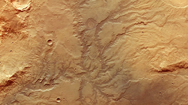 Mars-Express-Aufnahme der Flusstäler östlich des Huygens-Kraters. Copyright: ESA/DLR/FU Berlin/ CC BY-SA 3.0 IGO