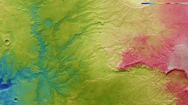 Höhenkarte des Bildausschnitts. Copyright: ESA/DLR/FU Berlin/ CC BY-SA 3.0 IGO