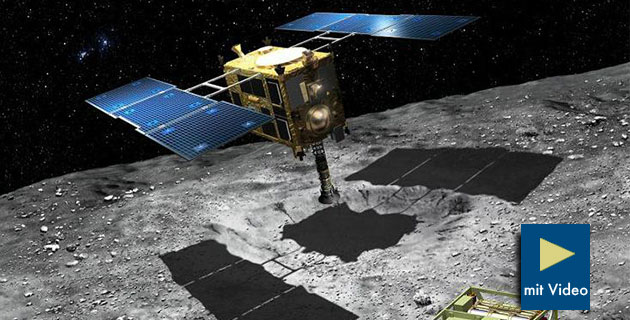 Künstlerische Darstellung der Landung von Hayabusa2 auf dem Asteroiden Ryugu (Illu.). Copyright: Akihiro Ikeshita / JAXA