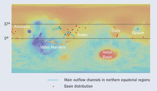 Diese Höhekarte zeigt die Verteilung einiger tiefen Krater (rote Punkte), die in einer aktuellen Studie zu Grundwasser auf dem Mars untersucht wurden. Copyright: NASA/MGS/MOLA; Crater distribution: F. Salese et al (2019)