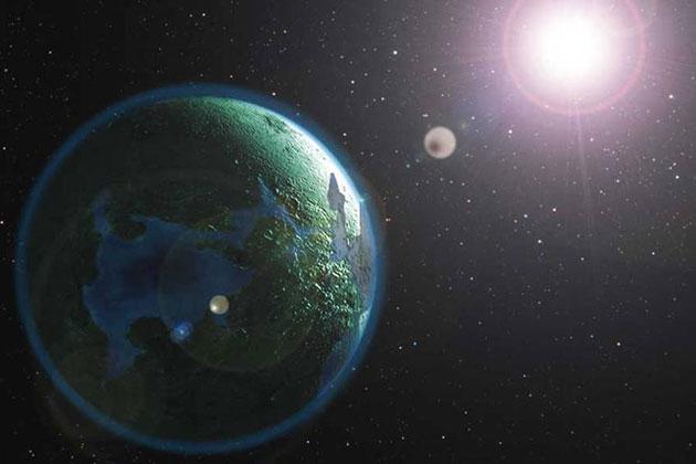 Symbolbild: Lebensfreundlicher Exoplanet (Illu.).Copyright: A. Müller, für grewi.de