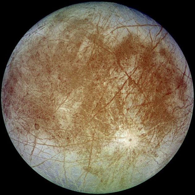 Blick auf dem Jupitermond Europa. Copyright: NASA