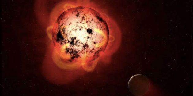 Künstlerische Darstellung des Roten Zwergs Proxima Centauri, der von mindestens einem Felsplaneten umkreist wird, auf dessen Oberfläche es möglicherweise flüssiges Wasser und damit die Grundlage zumindest des irdischen Lebens existieren könnte (Illu.).Copyright: NASA, ESA, G. Bacon (STScI)