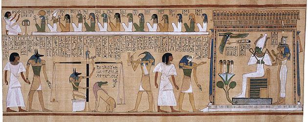 Symbolbild: Gericht über die Toten, Szene (Vignette) aus dem altägyptischen Totenbuch. Auf der Wage befindet sich die Feder der Göttin Maat, die für Gerechtigkeit, Weltordnung, Wahrheit, Staatsführung und des Rechts verantwortlich war.Copyright: Gemeinfrei