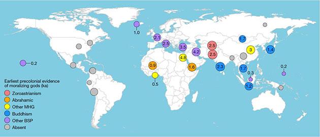 """Die Karte zeigt die Orte der 30 untersuchten weltweiten Regionen, in denen schon zu vorkolonialen Zeiten moralisierende Götter verehrt wurden.Copyright/Quelle: """"Seshat: Global History Databank"""" / Nature, 2019"""