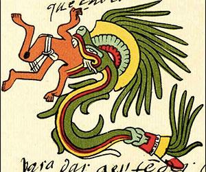 Abbildung des Quetzalcoatl im Codex Telleriano-Remensis aus dem 16. Jahrhundert.Copyright: Gemeinfrei