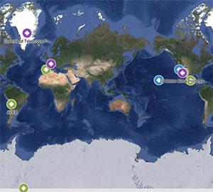 Die Orte der zum EHT zusammengeschlossenen Teleskope weltweit. Copyright/Quelle: eventhorizontelescope.org/