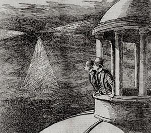 """Zeitgenössische Illustration in der Zeitung """"Sacramento Call"""" vom 29. November 1896 zur Sichtung eines """"Mystery Airships"""" über Sacramento. Copyright: Gemeinfrei"""
