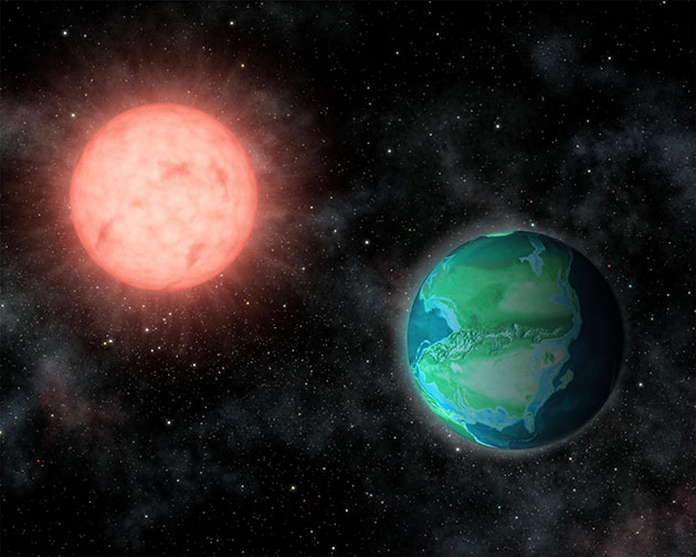 """Künstlerische Darstellung einer """"jungen Erde"""" um eine rote """"Sonne"""" (Illu). Copyright: J. O'Malley-James, Carl Sagan Institute, Cornell University, Jeff Tyson"""
