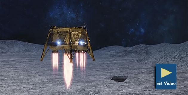 Künstlerische Darstellung der Landung von Beresheet auf dem Mond (Illu.). Copyright: spaceil.com
