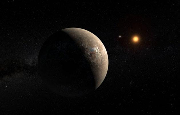 """Künstlerische Darstellung des potentiell lebensfreundlichen Planeten """"Proxima Centauri b"""" um Proxima Centauri (Illu.), der sich das System um den roten Zwergstern möglicherweise auch noch mit mindesten einer Super-Erde teilt (Illu.). Copyright: ESO/M. Kornmesser"""