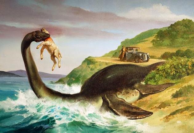 Buchillustration einer Nessie-Sichtung an Land (Illu.). Copyright/Quelle: Mysterious Monsters, Daniel Farson.