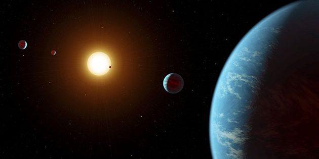 Künstlerische Darstellung einer Wasserwelt in einem fernen Sonnensystem (Illu.). Copyright: R. Hurt (IPAC)/NASA/JPL-Caltech