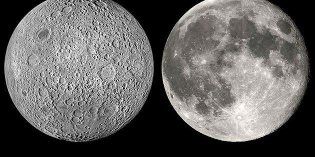Ansichten der Rückseite (l.) und erdzugewandten Seite des Mondes. Copyright/Quelle: WikimediaCommons
