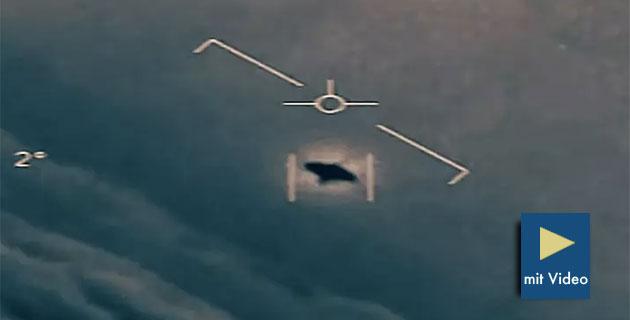 Standbild-Ausschnitt aus einem vom US-Verteidigungsministerium veröffentlichten UFO-Video der Bordkamera eines Navy-Kampfjets. Copyright/Quelle: DoD (USA), ToTheStarsAcademy / New York Times