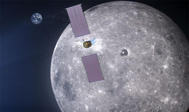 """Künstlerische Darstellung der Mond-Orbitalstation """"Gateway"""" (Illu.), von der aus die Mondlandungen im Rahmen des Artemis-Programms der NASA durchgeführt werden sollen. Copyright: NASA"""