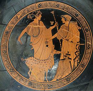 Apollon und Artemis auf einer attisch-rotfigurigen Schale im Pariser Louvre. Copyright: Gemeinfrei