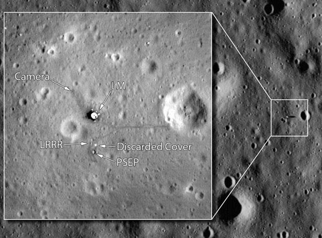 """Aufnahme von """"Tranquility Base"""", der Landestelle von Apollo-11, aufgenommen vom NASA-Mondsatelliten """"Lunar Reconnaissance Orbiter"""" (LRO). Copyright: NASA/GSFC/Arizona State"""