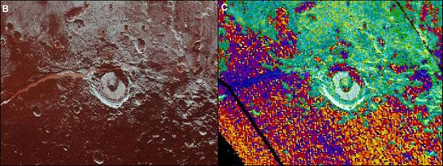Blick auf Oberflächenstrukturen in Sputnik Planitia und deren Ammoniak-Signaturen. Copyright/Quelle: Dale P. Cruikshank et. all