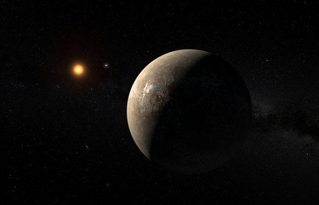 Künstlerische Darstellung des um Proxima Centauri kreisenden Planeten. Copyright: ESO/M. Kornmesser