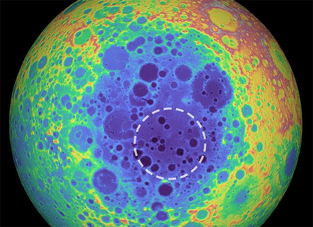 Falschfarbendarstellung der Topografie der Rückseite des Mondes. Wärmere Farben stehen für höher gelegenes Gelände, blaue Farben für eine tiefe Topografie und markieren zugleich das gewaltige Aitken-Becken. Die Größe der entdeckten Masse im Monduntergrund ist mit einem Kreis markiert. Copyright: NASA/Goddard Space Flight Center/University of Arizona