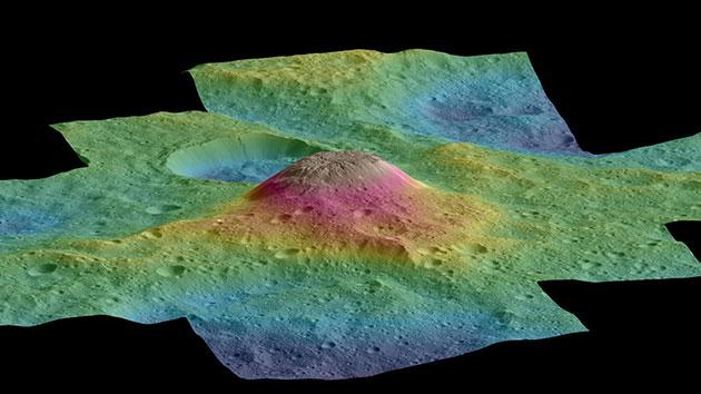 Ahuna Mons im topografischen Geländeansicht. Copyright: NASA/JPL-Caltech/UCLA/MPS/DLR/IDA