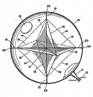 """Grafische Darstellung eines sog. """"Airborne Corner Reflector"""" (U.S. Patent #2,463,517)."""