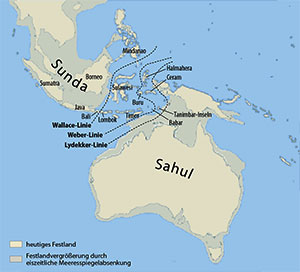 Der einstige Megakontinent Sahul. Copyright: Maximilian Dörrbecker (Chumwa) – via WikimediaCommons / CC BY-SA 3.0