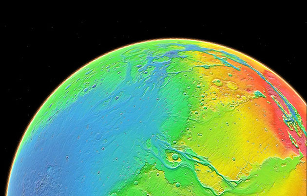 Symbolbild: Mars-Topografie. Copyright: NASA