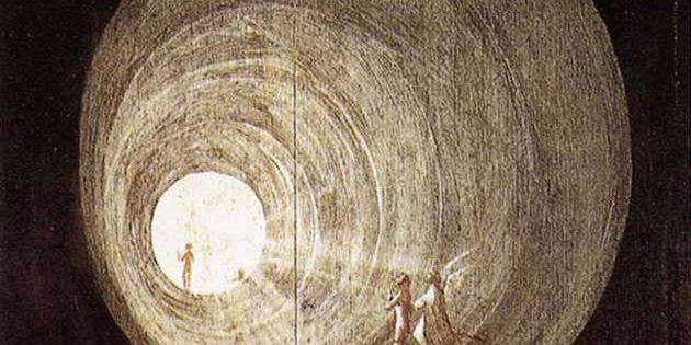 """Detail aus """"Der Flug zum Himmel"""" (Hieronymus Bosch, etwa 1500). Copyright: gemeinfrei"""