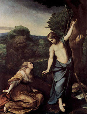 Auf diesem Gemälde von Antonio da Correggio aus dem 16. Jahrhundert erscheint der Maria Magdalena am Ostermorgen der Wiederauferstandene. Copyright: Gemeinfrei