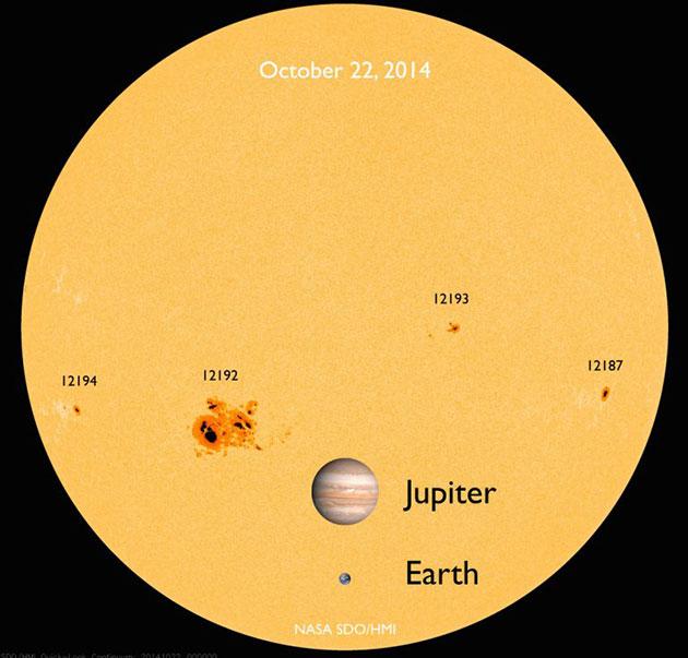 Sonnenflecken von Planetengröße wie hier die aktive Region AR12192 am 22. Oktober 2014, aufgenommen mit den Sonnen-Weltraumteleskop SDO/HMI. Copyright: NASA