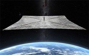 Simulation des LighSails im Erdorbit (Illu.). Copyright: The Planetary Society