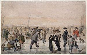 """Das Gemälde IJsvermaak (""""Eisvergnügen"""") von Hendrick Avercamp zeigt Menschen auf einem zugefrorenen Kanal in den Niederlanden im kalten Winter 1608. Copyright: Gemeinfrei"""