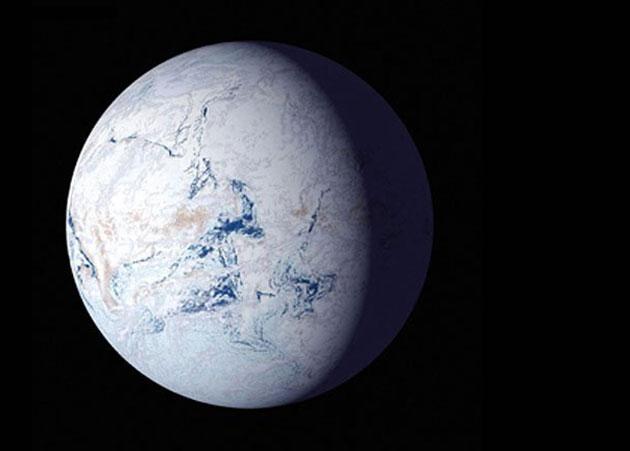 Künstlerische Darstellung eines Schneeball-Planeten. Copyright: NASA