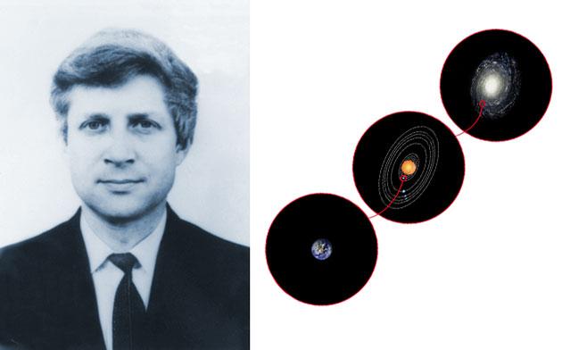 Der Astrophysiker Nikolai Semjonowitsch Kardaschow (1932-2019) vor dem Hintergrund einer Illustration der nach ihm benannten Kardaschow-Skala zur Einteilung fortgeschrittener außerirdischer Zivilisationen. Copyright: Gemeinfrei