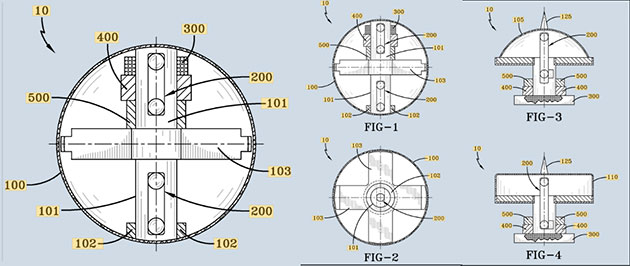 """Technische Patent-Zeichnungen zum """"elektromagnetischen Kraftfeldgenerator"""" der US Navy. Copyright: USPTO"""
