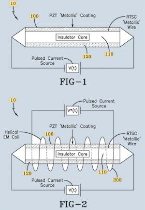"""Technische Patent-Zeichnungen zum bei """"Raumtemperatur betriebsfähigen Supraleiter"""" der US Navy. Copyright: USPTO"""