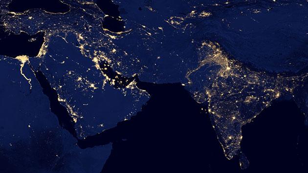 Blick auf den Nahen Osten und Indien bei Nacht. Copyright/Quelle: NASA