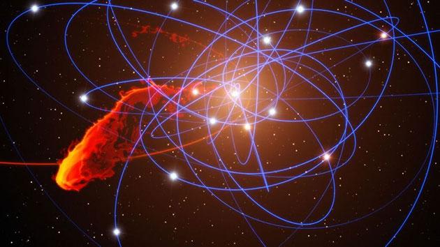 Simulation der beobachteten Gaswolke auf ihrem Weg in Richtung des Schwarzen Lochs im Zentrum der Milchstraße (Illu.). Copyright: Marc Schartmann u. L. Calcada/ European Southern Observatory und Max-Planck-Institut für Extraterrestrische Physik