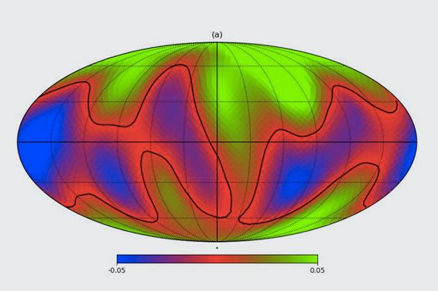 Karte einer simulierten Fernansicht unserer Erde. Copyright: S. Fan et. al., arXiv (2019)