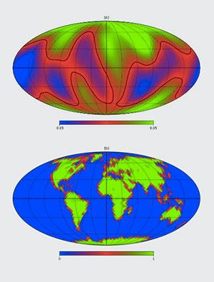Das Ergebnis (o.) im Vergleich zu einer tatsächlichen vergleichbaren Erd-Karte. Copyright: S. Fan et. al., arXiv (2019)