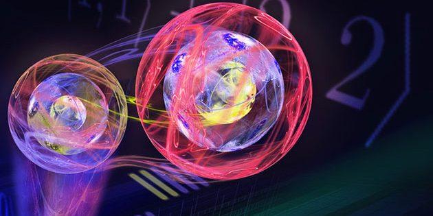 Künstlerische Illustration der Teleportation eines Drei-Ebenen-Zustands. Copyright: ÖAW/Ritsch